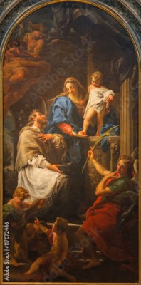 Fototapeta BRESCIA, ITALY - MAY 22, 2016: The painting of Madonna with the Child and St. John the Nepomuk in church Chiesa di Santa Maria della Pace by Pompeo Batoni (1746)