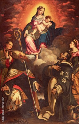 Plakat CREMONA, ITALY - MAY 24, 2016: The panting of Madonna in Glory witht the saints by Antonio Mainardi (1585) in church Chiesa di San Agostino.
