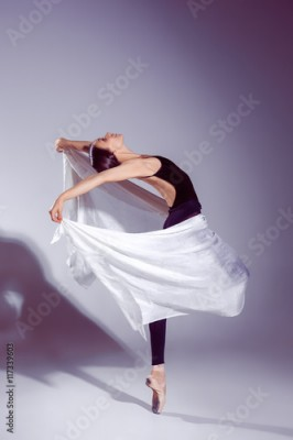 Fototapeta Ballerina in black outfit posing on toes, studio background.