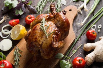 Obraz na Szkle Whole roasted chicken