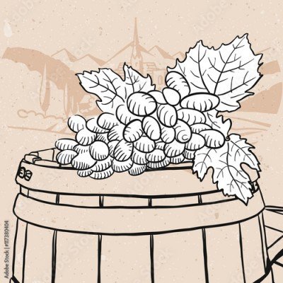 Obraz na Szkle Grapes on sketched wooden barrel with wine