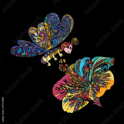 Obraz na płótnie Colorful line art of flying butterfly with Chinese rose flower