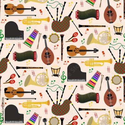Fototapeta Pattern with musical instruments
