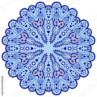 Fototapeta Blue mandala in the shape of snowflakes. Abstract winter pattern. Handmade Vector blue on a white background. Ethnic pattern in oriental style.