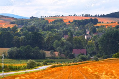 Fototapeta Village in South Poland in Sudety Mountains