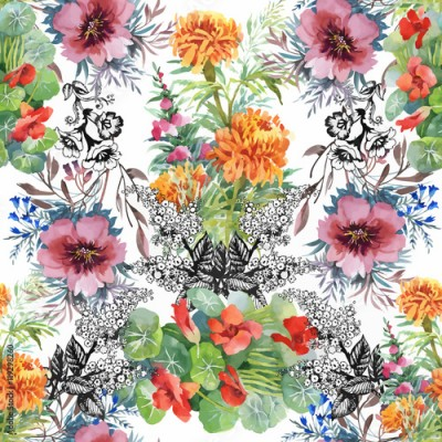 Panel Szklany Beautiful Watercolor Summer Garden Blooming Flowers Seamless Pattern.