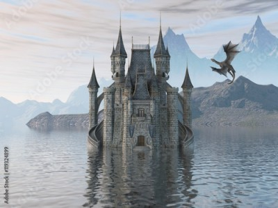 Fototapeta 3D Illustration Of A Castle On The Water And Dragon