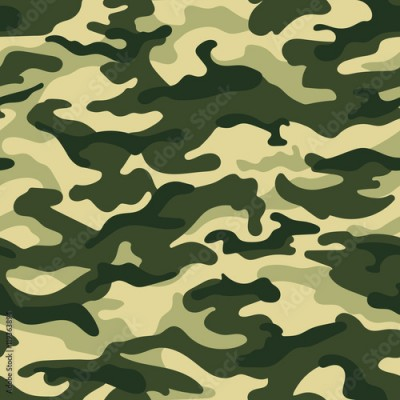 Fototapeta Army camouflage seamless pattern, green colors. Vector illustration