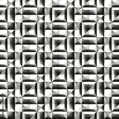 Fototapeta Abstract black and white plastic pattern. Metallic silver 3D surface. Checked relief. Texture background. Seamless illustration.
