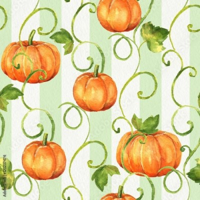 Fototapeta Pumpkins. Seamless watercolor pattern. Background with paper texture 10