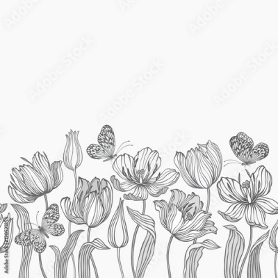 Fototapeta seamless floral border with tulips and butterflies