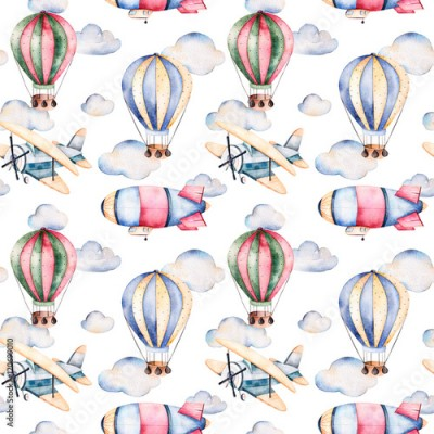 Naklejka Seamless pattern with air balloons,airship,clouds and the plane in pastel colors.Watercolor air ballons beautifully decorated on white background and other aircrafts.Perfect for wallpaper