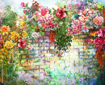 Fototapeta Abstract flowers on Wall watercolor painting. Spring multicolored flowers