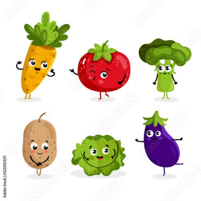 Naklejka Cartoon funny vegetable characters isolated on white background vector illustration. Funny vegetable face icon.