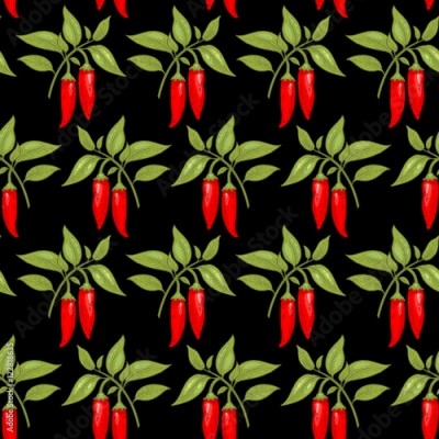 Panel Szklany Seamless pattern with cayenne pepper