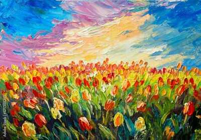 Obraz oil painting, tulips on a background of beautiful sunrise, impressionism art