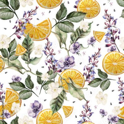 Panel Szklany Colorful watercolor pattern with lavender flowers, anemones, and orange fruits. Illustrations.