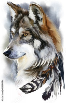 Plakat Wolf watercolor painting