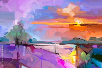 Obraz Abstract oil painting landscape background. Artwork modern oil painting outdoor landscape. Semi- abstract of tree, hill with sunlight (sunset), colorful yellow - purple sky. Beauty nature background