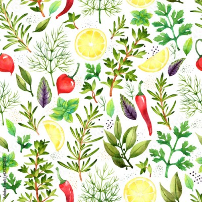 Fototapeta Seamless pattern with watercolor vegetables on white background