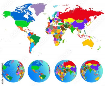 Fototapeta World map, Globes with countries. Planet Earth. Vector