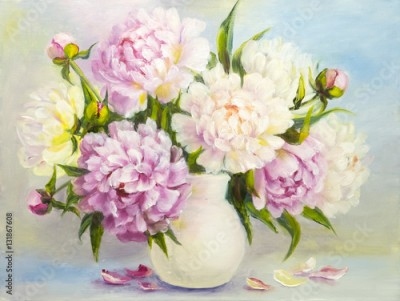 Obraz na płótnie Peony pink flowers in a white vase. Oil painting illustration