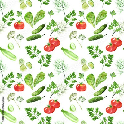 Fototapeta vegetable seamless pattern with tometoes, marrow, cucumber, dill and parsley watercolor. Hand drawn vegetables in watercolor style. Background for paper, textile, deciration and wrapping