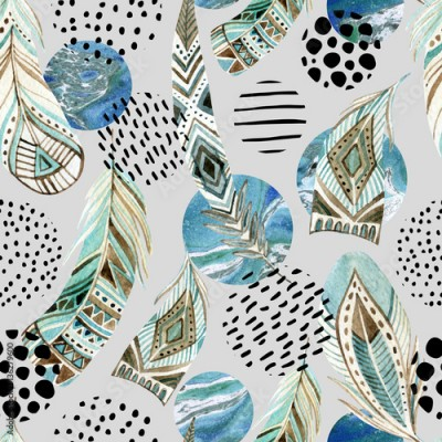 Fototapeta Watercolor tribal feathers seamless pattern with abstract marble and grunge shapes