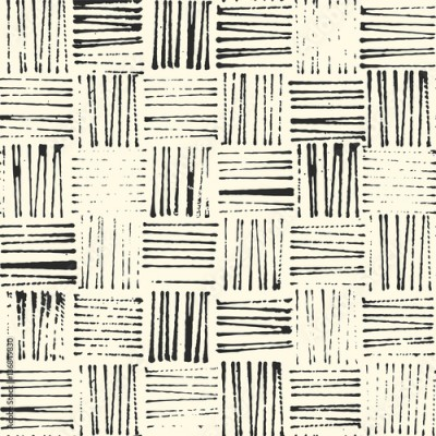 Fototapeta wicker texture, rustic stamp style seamless vector pattern, black and white