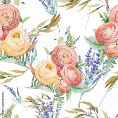 Obraz na Szkle Watercolor flowers seamless pattern. Hand painted botanical wallpaper with lavender, eucalyptus leaves, ranunculus flowers, rose, fern branches on white background. Floral texture design