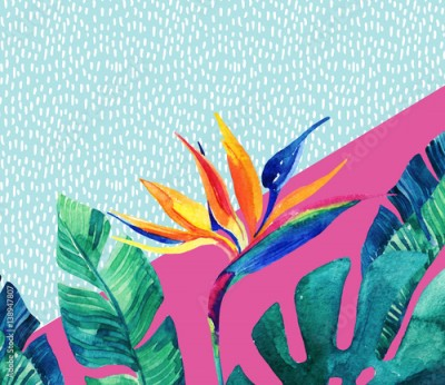 Fototapeta Abstract tropical summer design in minimal style.