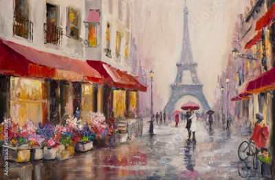 Plakat Original oil painting on canvas - Paris - Eiffel Tower - A pair of lovers under an umbrella - Modern Art