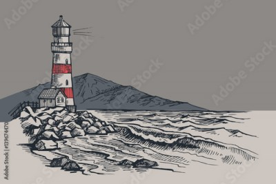 Fototapeta Lighthouse vector drawing