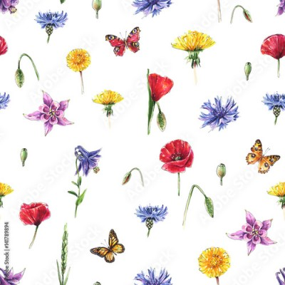 Panel Szklany Meadow flowers, butterflies, herbs. Seamless summer background. Watercolor
