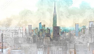Fototapeta Sketch of the Manhattan skyline cityscape
