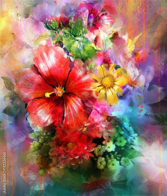 Obraz Abstract colorful flowers watercolor painting. Spring multicolored in .nature.