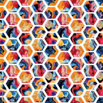 Fototapeta Watercolor hexagon seamless pattern