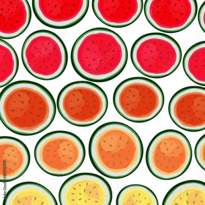 Fototapeta Pattern with watermelon background. Cute vector background.