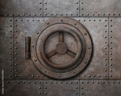 Fototapeta Rusty metal safe door 3d illustration