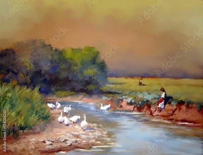 Plakat Digital art, ukrainian landscape, oil paintings