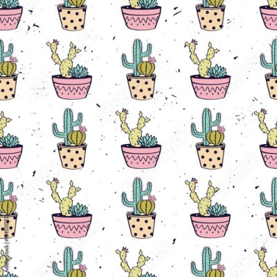 Fototapeta Vector colorful hand drawn seamless pattern with cactuses and succulents in pots on grunge texture. Modern scandinavian design