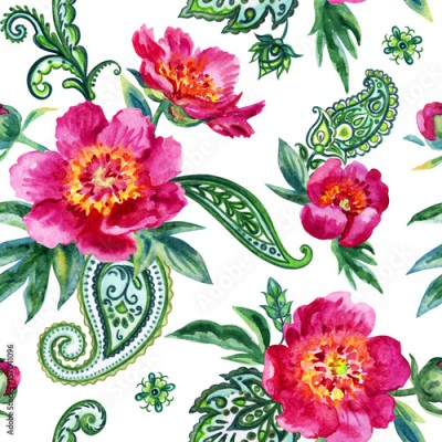 Obraz na Szkle Seamless watercolor pattern of pink peonies and paisley.  Illustration drawing on white background.