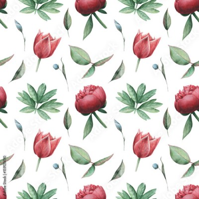 Fototapeta Seamless watercolor pattern with flowers and leaves, isolated on white background