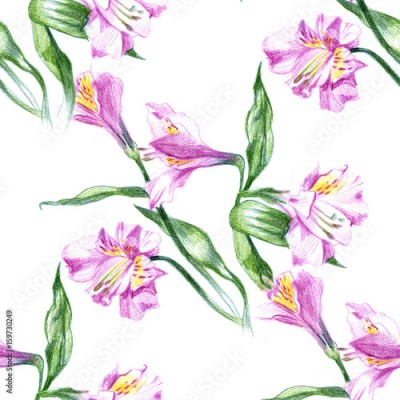 Naklejka Seamless background pattern with watercolor drawings and pencil sketches of blooming pink flowers