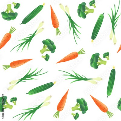 Fototapeta Seamless pattern with vegetables. Carrot, cucumber, onion and broccoli. Vector illustration