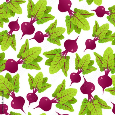 Fototapeta Seamless pattern with beetroot. Vector illustration