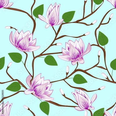 Panel Szklany Magnolia blossom seamless pattern on blue background.