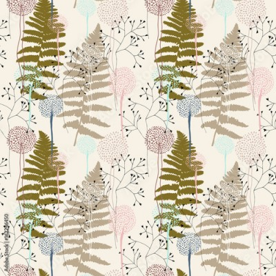 Fototapeta Floral pattern with fern leaves, dandelions and grasses.