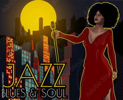Fototapeta Vintage poster with cityscape , retro woman singer and moon. Red dress on woman. Retro microphone. Jazz, soul and blues live music concert poster.