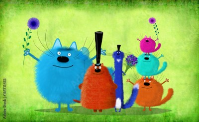 Naklejka Big Company Of Colorful Cats Standing On Green Background